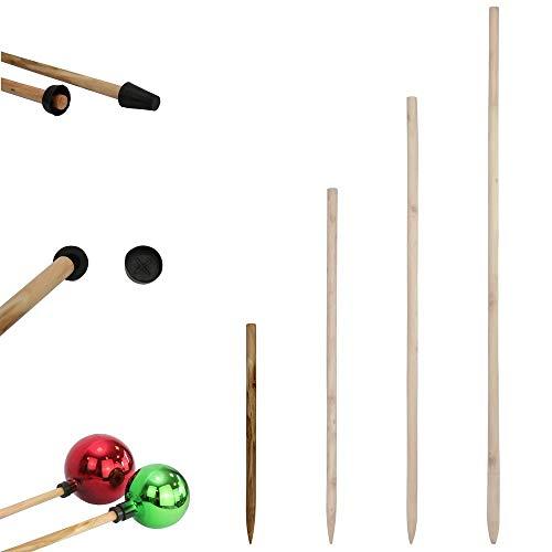 1PLUS Holzstab für Rosenkugeln Gartenkugeln in verschiedenen Längen aus massivem Holz - Stock Stab für Dekokugeln Kugel Dekoration - Rosenkugelstab für die Befestigung der Kugel (50 cm)