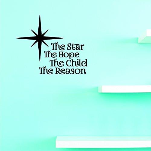 Motif Vinyle Avec 3 recharges de 2349 3 Hot nouveaux Stickers l'étoile The Hope The Child The Reason Décoration murale Taille X 45,7 cm Couleur, 45,7 x 45,7 cm, Noir