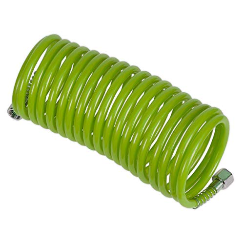 Sealey SA335G Green 5m x Ø5mm PE Coiled Air Hose with 1/4' BSP Unions