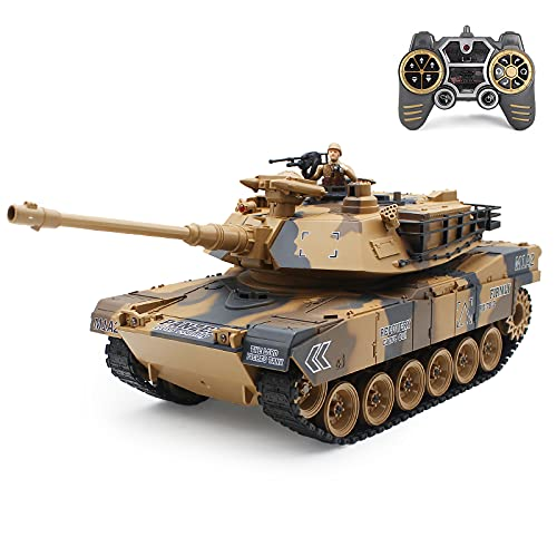 Fisca 1/18 Remote Control Tank 2.4Ghz, 15 Channel M1A2 RC Tank with Smoking and Vibration Controller - Abrams Main Battle Tank That Shoot BBS Airsoft Bullets Military Toy for Kids and Adults