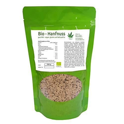Bio Hanfsamen/Hanfnüsse geschält, Rohkostqualität, naturbelassen, glutenfrei, vegan, 500 g