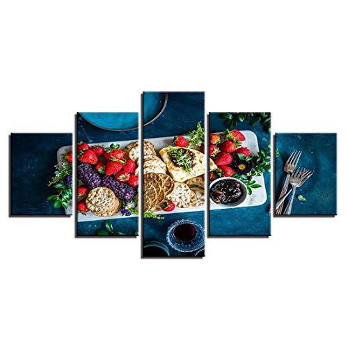 LX Foto Auf Leinwand, Leinwand Wandmalerei Drucken, Malerei Moderne Malerei Auf Leinwand Abstrakte Moderne Malerei Zu Hause Fünf Kekse Erdbeere Wohnzimmer Dekoration Malerei,L