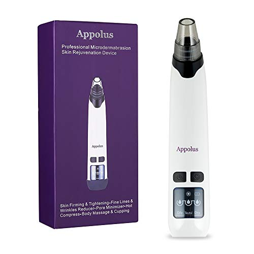 Microdermabrasion Machine - Appolus Premium Skin Rejuvenation & Tightening Kit - Fine Lines & Wrinkles Reducer - Facial Body Massage & Cupping - Hot Compress & 4 Vacuum Heads