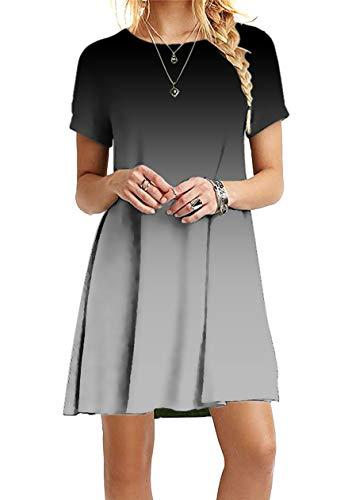 OMZIN Sommerkleider A-Linie T-Shirt Elegant Rundhals Kurzarm Swingkleider Ärmellos Sexykleider mit Träger Shirtkleider Grau M