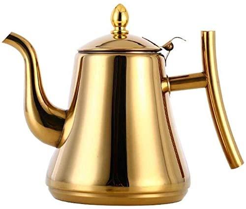Bouilloire induction Théière rétro épaissie 304 Acier inoxydable Hotel Coffee Pot Restaurants pour la maison de théière en plein air Brew théière de thé Brow WHLONG (Color : Gold, Size : 1.5l)