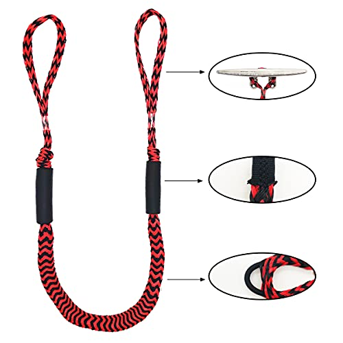 Bungee Dock lines - Pack of 4 Marine Rope for Boat
