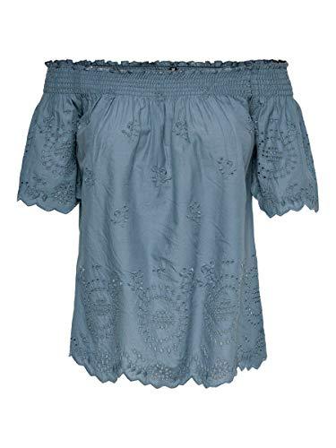 ONLY Damen Onlnew SHERY EMB ANG Off Shoulde DNM TOP Bluse, Blau (China Blue China Blue), X-Large (Herstellergröße: 42)