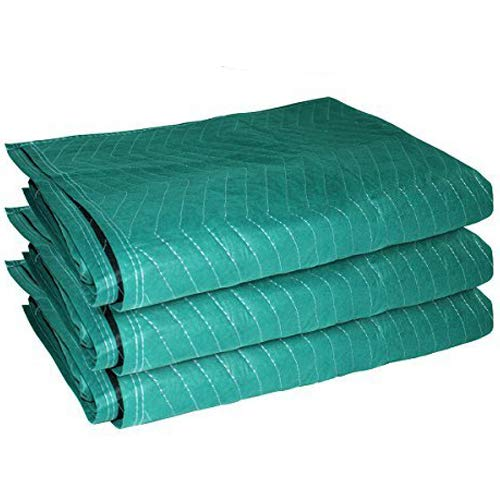 """EasyGoProducts EGP-MOVE-005 3 Pack Heavy Duty 72"""" x 45 Furniture Moving Packing Blankets-Cheapest on Amazon, 3-Pack, Green"""