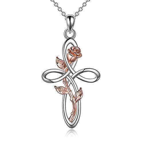 YFN Collana con Croce di Fiori di Rosa Collana con Ciondolo a Forma di Nodo Celtico in Argento Sterling Infinity Love per Donna Mamma Moglie Figlia