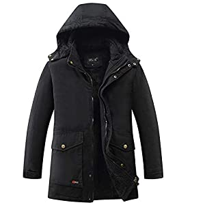 Men Winter Coats and Jackets Fleece Lining Hooded Parka Coat Removable Hood