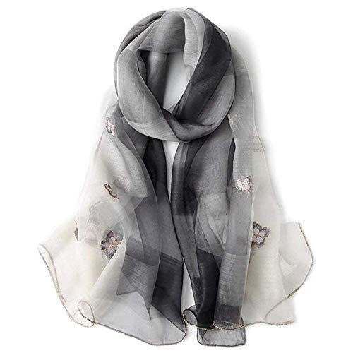 ZBHW Seide Wolle Schal Mulberry Stickerei Schal Seide Lange Abschnitt Schal Damen Luxuriöse Geschenk 200 cm * 85 cm (Farbe : Gray)