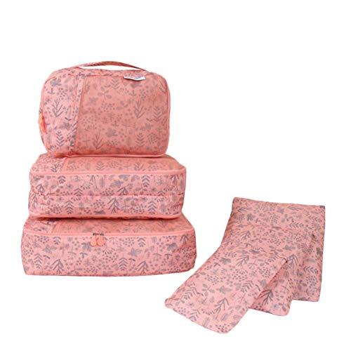 Wxianmy Juego de 6 bolsas de almacenamiento multifunción de viaje, bolsa organizadora de impresión, bolsa de almacenamiento portátil con cordón para hombres y mujeres, regalo de viaje a casa