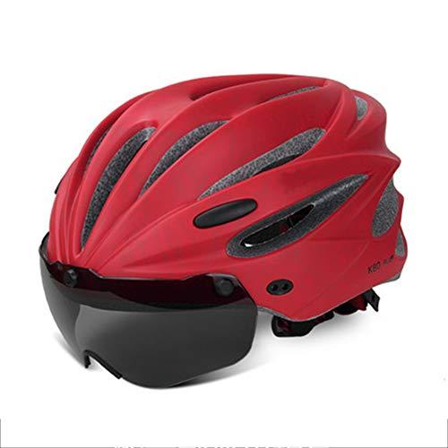 Fietshelm met afneembare magnetische veiligheidsbril, vizier, verstelbare, comfortabele veiligheidsfietshelm, licht, met 2 CE-gecertificeerde lenzen (55-62 cm)