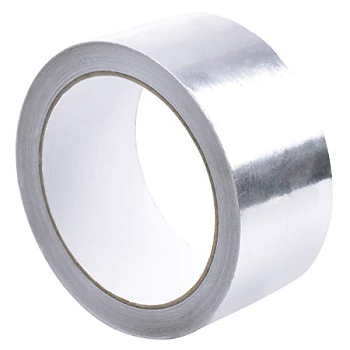 50mm x 20m Aluminium Klebeband Aluband Aluklebeband hitzebeständig, Selbstklebendes Aluminiumband Klebeband zum Abdichten oder Dämmen, Alufolie Isolierband für Reparaturen von metallischen Oberflächen