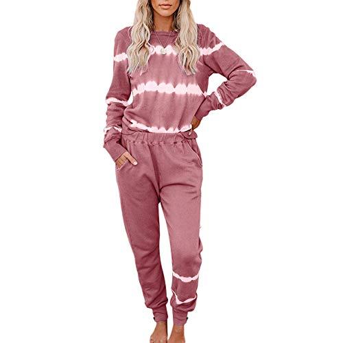 Bestwo Conjunto de chándal para mujer con teñido anudado deportivo, traje de jogging de manga larga, jersey de ropa de estar para correr, pantalones para el hogar