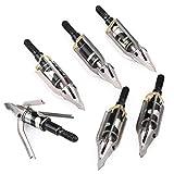 RunFa 6 er 100 Grains Pfeilspitzen Jagdspitzen Armbrust Bogen Arrow Broadheads mit 3 Klingen aus 430 Edelstahl Schraubspitze Bogensport Bogenschiessen Bogenjagd (x)