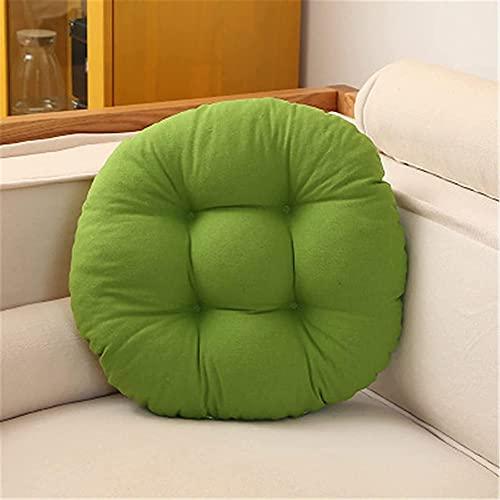 Juego de 2 cojines de asiento redondos, cómodos y transpirables, de algodón, adecuados para oficinas, salón, balcón y jardines, color verde, 45 x 45 cm