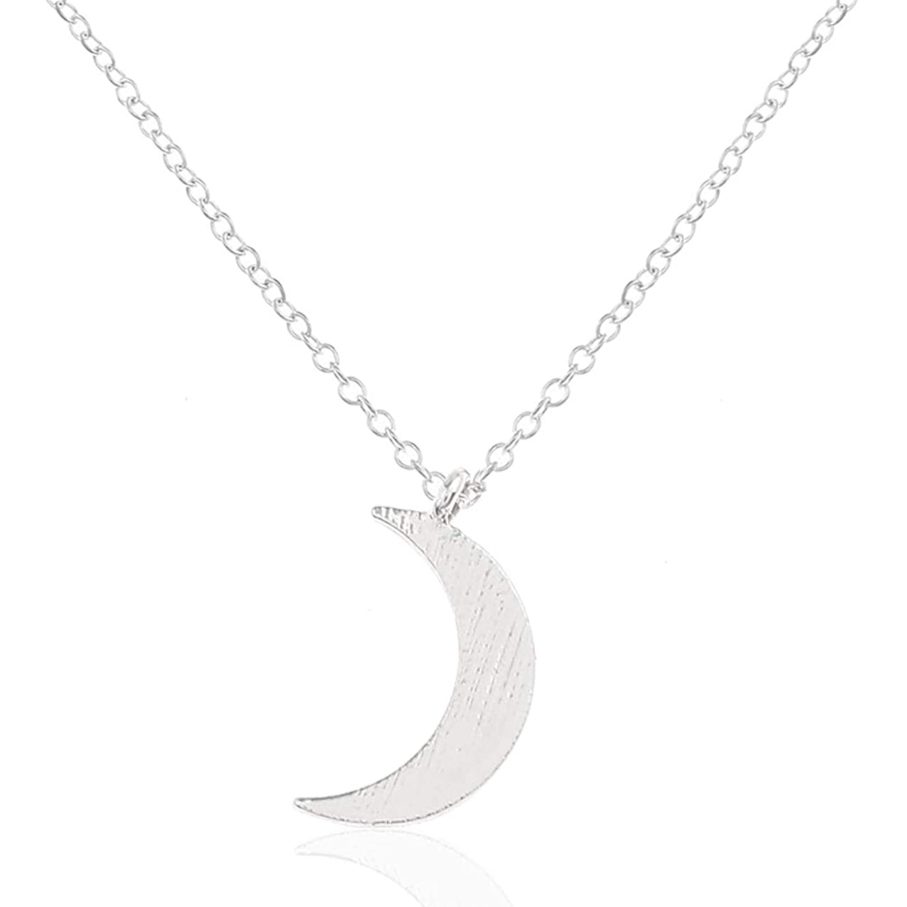 Barogirl Crescent Moon Pendant Necklace Dainty Necklaces Jewelry with Tiny Moon for Women and Girls (Silver)
