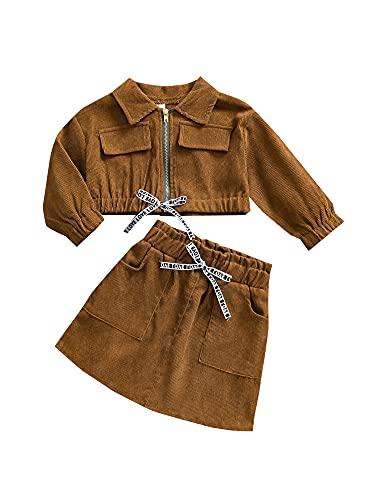 WangsCanis - Completo per bambina, 1 – 5 anni, giacca + gonna, primavera, autunno, cachi., 18-24 Mesi