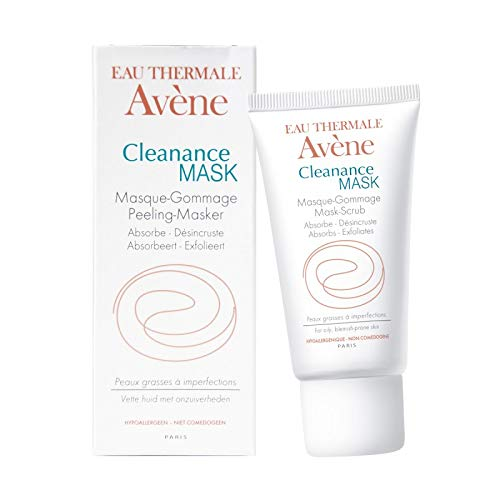 Eau Thermale Avene Cleanance MASK, Clay Exfoliating Mask Scrub, Absorbs Oil and Deep Cleans Pores, Acne Prone Skin, 1.6 oz.