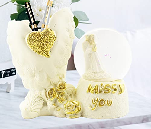 Devavrata Creations Love Couple Miss You Statue in LED Light Crystal Ball with Inside Snow Globe Decor in Golden Leaf Showpiece for Valentine Gift (Golden)