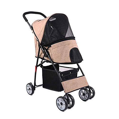 GDFGDFGFD Foldable pet Cart Pet Stroller,Dog Walking Shopping Stroller Folding Pet Buggy House Kennel,Outdoor Travel Goods for Small Dogs 12.5Kg (Color : Khaki)