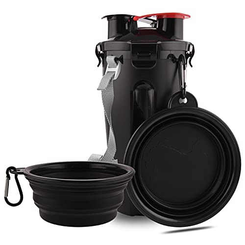 Guardians Dog Travel Water Bottle Collapsible Bowls, 2 in 1 Pet Food Container with Collapse Bowls, Outdoor Portable Water Bowls for Walking, Traveling, Camping and Hiking(Black)