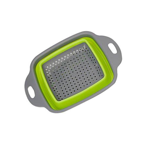 HKFV Panier de rangement de cuisine pliable en silicone avec poignée Vert Taille S