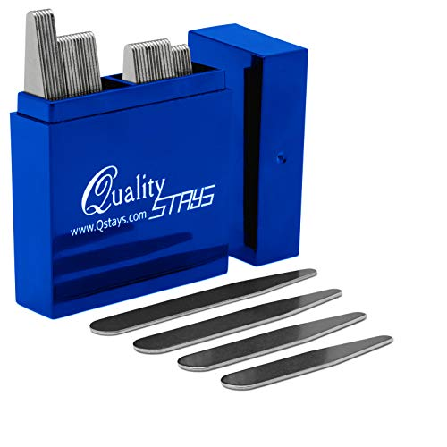 """36 Metal Collar Stays in Clear Plastic Box, Order The Sizes You Need. by Smooth Stays (36 Collar Stays - 2.5"""" Long)"""