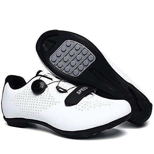 KUXUAN Zapatillas De Ciclismo para Hombre Zapatillas De Bicicleta De Carretera Zapatillas De Bicicleta De Montaña De Microfibra Reflectantes para Ocio,White-46