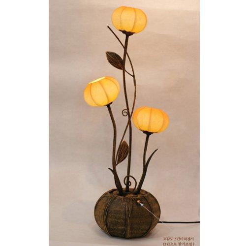 Lampe en papier de riz boule faite à la main design chapeau de trois fleurs parasol jaune rond ballon marron Asie orientale décorative classique originale table de nuit décoration