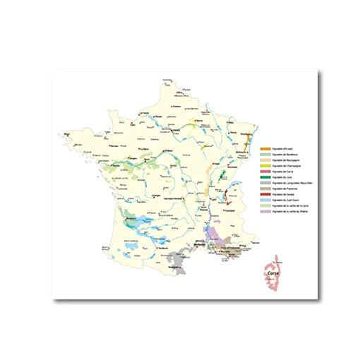 KBIASD Póster de Mapa de regiones vinícolas de Portugal Impresiones artísticas de Pared Italia Hungría Vino regiones de Francia Lienzo artístico Pintura para decoración del hogar 60x80cm sin M