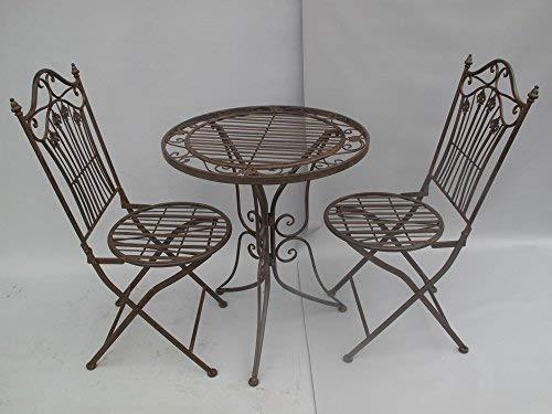 linoows Gartengarnitur, Garten-Sitzgruppe, Gartenmöbel Lilie in Antik Braun, 3-teilig