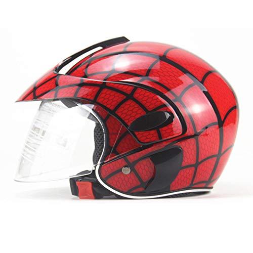 FYBAO I Bambini del Casco Spider-Net Moto Arte Bambino Casco Ciclo di Guida Sportiva Casco Mezzo Quattro Stagioni in Bicicletta Casco di Sicurezza per i Bambini 2-7 Anni,Bright Red