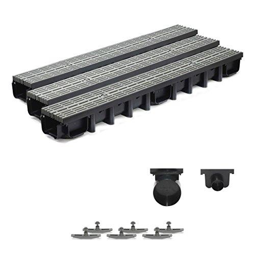 3m Entwässerungsrinne für modulares System A15 98mm, komplett Stegrost Kunststoff, Grau Line