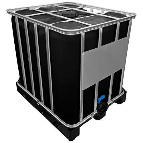 Werit 1000l IBC Container SCHWARZ auf Kunststoffpalette Deckelgröße DN 150, Armaturgröße S60x6 Grobgewinde