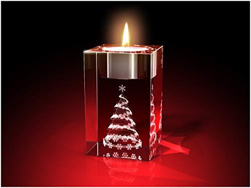 GLASFOTO.COM, Weihnachten Teelichthalter, 50 x 80 x 50 mm, Kristallglas 3D Innengravur in Premiumqualität (50 x 80 x 50 mm Weihnachtsbaum Teelicht)