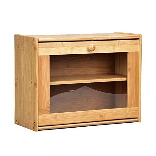 jinclonder Doppelschichtige Aufbewahrungsbox aus Bambus, Brotbox, Snack-Aufbewahrung, staubdichte transparente Acrylbox, multifunktionale Aufbewahrungsbox für die Küche Robust, stilvoll