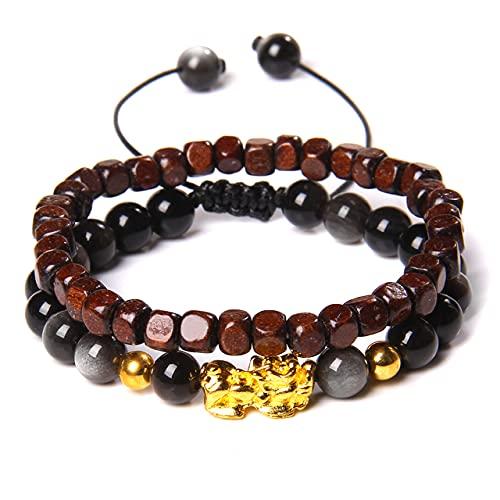 SEOLQX Pulseras Fengshui Jewelry Brazalete Hecho a Mano de Doble Capa para Parejas Tejido Pulsera de Cuerda Negra Pulsera de Madera para Mujer, obsidiana Plateada, 19cm