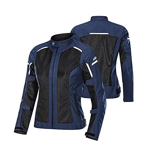 DNJKH Chaqueta de Motocicleta para Mujer, de Verano, Malla 3D Transpirable, Anticaída, Camiseta de Competición, Protección Corporal, Certificación CE