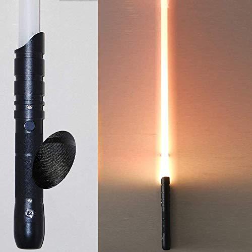 zzj Sable de luz y sincronización de luz Accesorios de batalla de metal negro La longitud de la hoja es de aproximadamente 770 MM_Lámpara naranja de mano negra.
