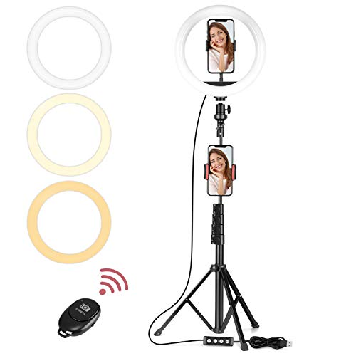 Vabogu Selfie Ring Light, 10' Selfie Lights 120 LED Bulbs with Tripod Stand 18' to 63' & Cell Phone...