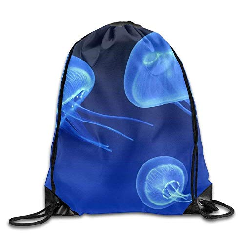 Ccsoixu Drawstring Bag Gym Bag Travel Backpack, Blue Jellyfish, Mini Backpacks Women Men Adults,Drawstring Bag Sport Gym Backpack Gym Bag for Men and Women