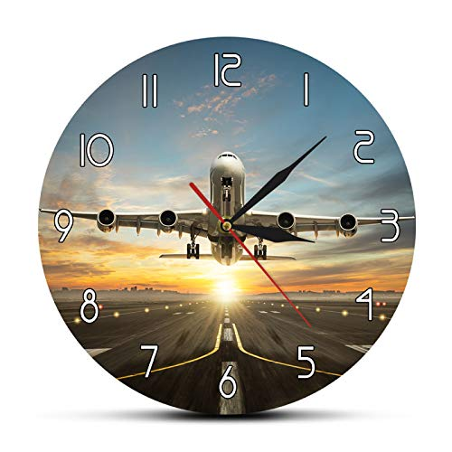 yage Enorme Reloj de Pared de avión Comercial de Dos Pisos, avión Comercial, Toma de Pista en la Espectacular luz del Atardecer, decoración Moderna para el hogar