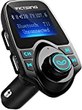 VicTsing Bluetooth FM Transmitter, [Upgraded Version] 120°Rotation Car Radio Kit with 4 Music