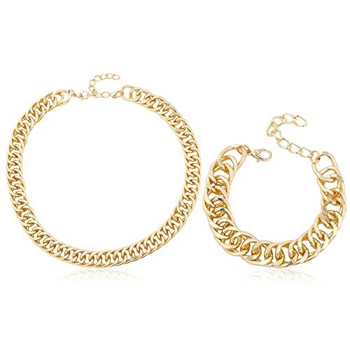 PROJEWE Armband- und Halskettenset, Vergoldetes Armband und Halskette, Einfache Klassische Verstellbare Schlüsselbeinkette, Bordstein Ketten Armband für Männer und Frauen, Schmuck für Geschenke
