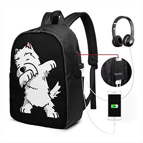 Unisex Rugzak met USB Opladen Poort Grappige Dabbing West Highland Wit Terrier Hond Klassieke Mode Algemene Zakelijke Boekenkast