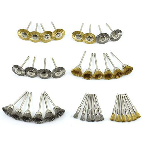 BIGP 36 Stück Messing Stahldraht Rad Pinsel Set Polieren Reinigung Drehwerkzeug Buffing Pinsel Full Kit für Dremel Rotary Tools