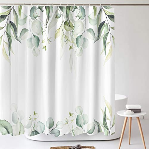 Tititex Watercolor Green Leaves Shower Curtain Sets, Aesthetic Eucalyptus Plant Bathroom Decorative 69 X 70 Inch Polyester Waterproof Fabric Bathroom Curtain with Hooks
