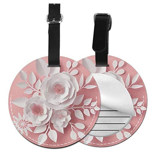 Kofferanhänger PU Leder Rosa weiße Papierblume, Gepäckanhänger ID Etikett Mit Adressschild Namenschild für Reisetasche Koffer